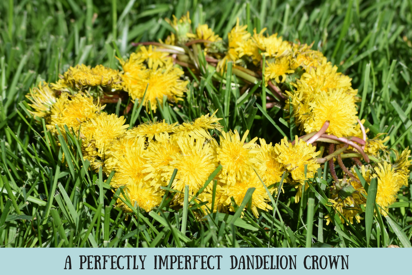 Bright yellow flower crown made of dandelions on green grass