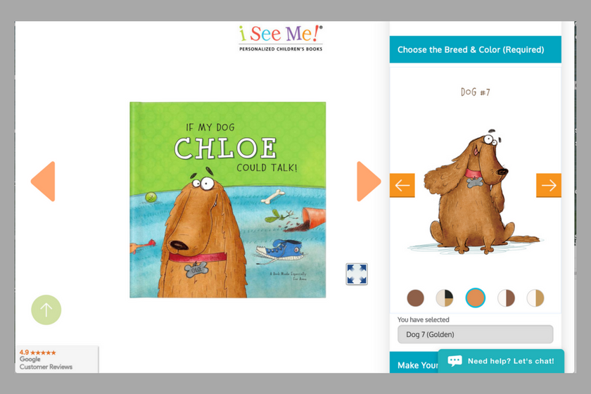 I See Me personalized book cover and dog image to show how to personalize the book