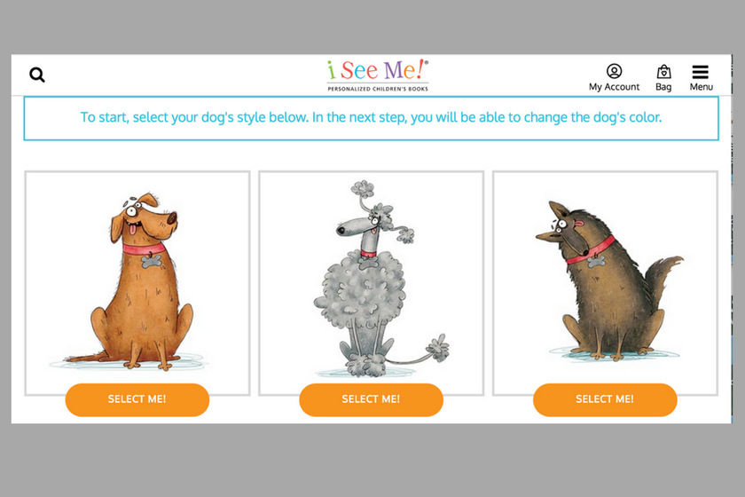 Three dog styles from the I See Me personalized children's book If My Dog Could Talk