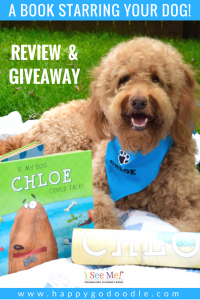 Red goldendoodle dog sitting on blanket with personalized book with her name and image and text says review and giveaway