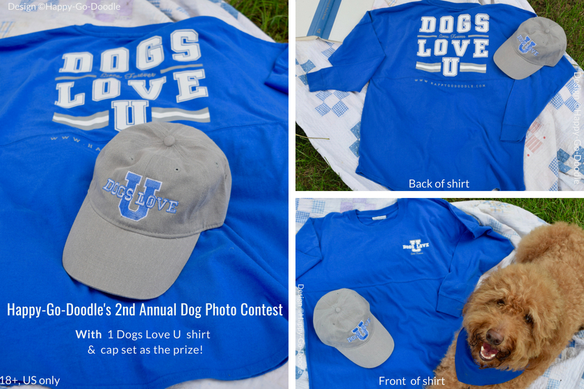 dog photo contest prize winner will receive grey hat and blue long-sleeve t-shirt that says Dogs Love U and words 18+ and US only