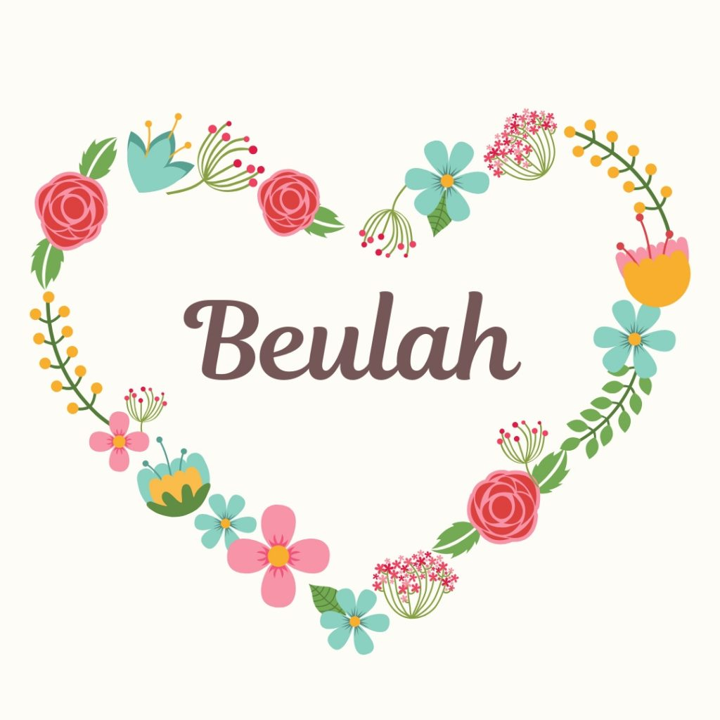old-fashioned flowered heart with retro name beulah