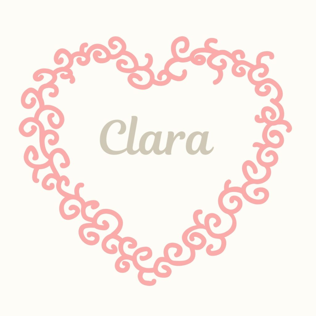 pink heart with old-fashioned name clara
