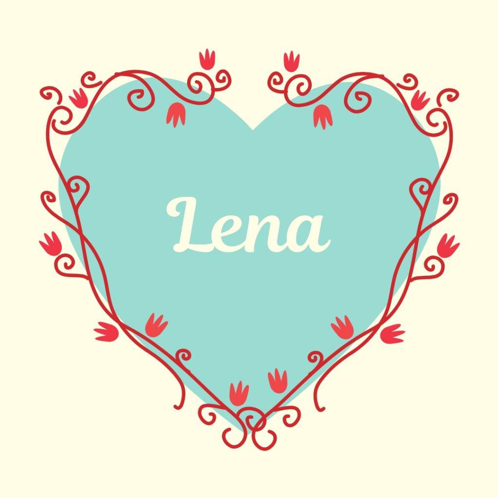 classic name lena on vintage blue heart