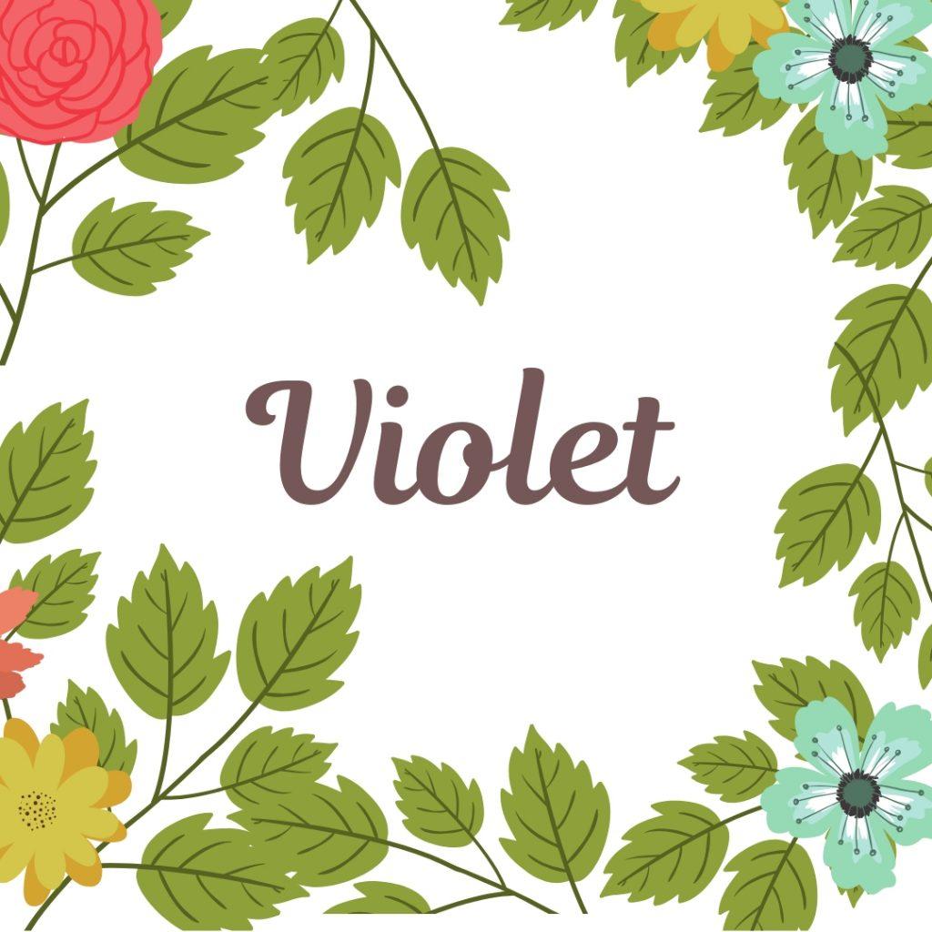 old fashioned name Violet in center of vintage floral border